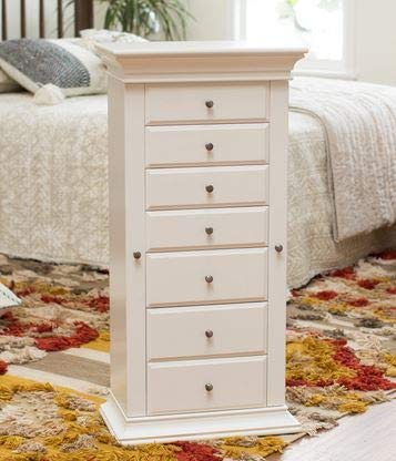Jewelry Armoire - Antique White Wood Seven Drawers with Anti Tarnish Lining - Cozy Home of Your Jewels ()