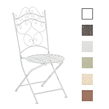 CLP Silla de Jardín Plegable Indra I Silla Plegable en Hierro I Silla de Exterior en Estilo Rústico I Color: Blanco