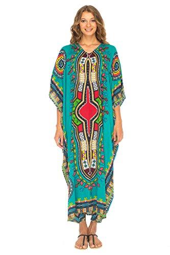 SHU-SHI Womens Long Kaftan Beach Swim Suit Cover up with Sequins Dashiki Print by SHU-SHI