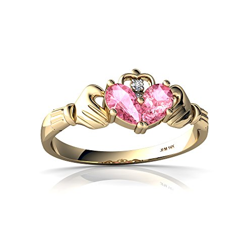 14kt Yellow Gold Lab Pink Sapphire and Diamond 5x3mm Pear Claddagh Ring - Size 4.5 (Yellow Gold Sapphire Claddagh Ring)