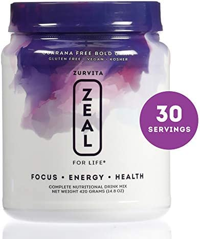 Zurvita Zeal for Life 30 Day Wellness Canister, Bold Grape Guarana Free , 420 Grams Nutrition Rich, Greens Powder Reduces Inflammation and Stabilizes Cells