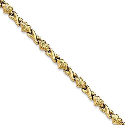 14 carats avec cœur découpé au diamant - 7 mm-JewelryWeb