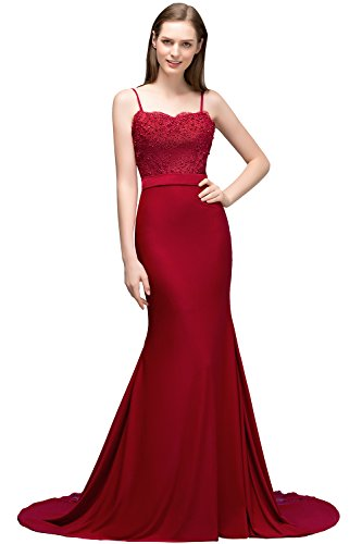 Babyonlinedress Women's Burgundy Charmeuse Spaghetti Strap Beaded Party Dress(Burgundy,12)