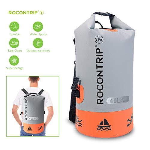 ROCONTRIP Waterproof Dry Bag Dry Sack 10L/25L/40L, Lightweight Waterproof Backpack for Kayaking, Beach, Rafting, Boating, Hiking, Camping and Fishing (Orange 40L)