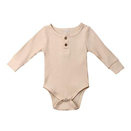 ZEFOTIM Baby Boys Girls Romper Bodysuit Infant Funny Jumpsuit Outfit 0-18M Sleep and Play(Beige,60)