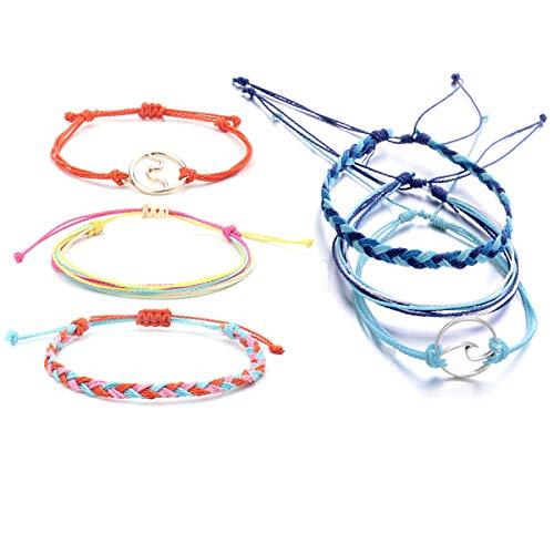 Starain 6 Pcs Summer Wave Beach Bracelet Women Girls Boho Handmade Waterproof Wax Coated Adjustable Braided Rope Bracelets Set -