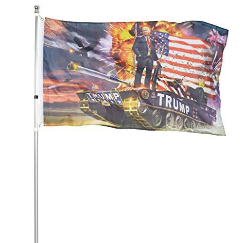 ROTERDON President Trump Flag - 3x5 Feet Trump Tank Lightweight Polyester America Indoors Banner Flags