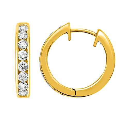 IGI Certified 14k Yellow Gold Hoop Huggies Diamond Earrings (1/2 carat) 1/2 Ct Diamond Huggies Earrings