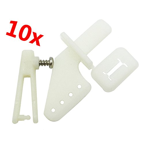 Mmei 10 pcs white Lock On Plastic Control Horns 21x11 mm (4 Hole) With 1mm Chuck Screw For RC Model Airplane Parts Remote Control Foam Electric Plane