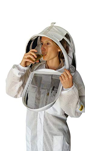 OZ ARMOUR Full Beekeeping Suit 3 Layer Ventilated Beekeeper Costume with Fencing Hood (Large) ()