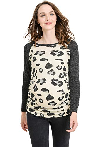 Hello MIZ Women's Maternity T-Shirt Top with Raglan Sleeve (Sweater Leopard/Black,M)