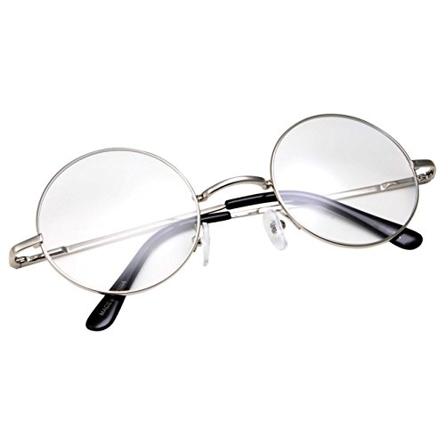 grinderPUNCH - Non-Prescription Round Circle Frame Clear Lens Glasses Small Silver -