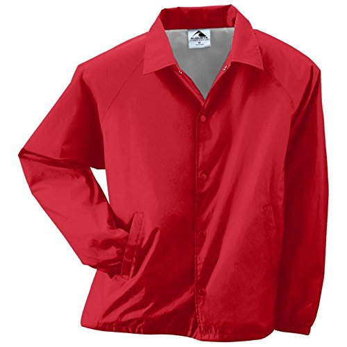 - Augusta Activewear Youth Nylon Coach's Jacket/Lined, Red, Medium