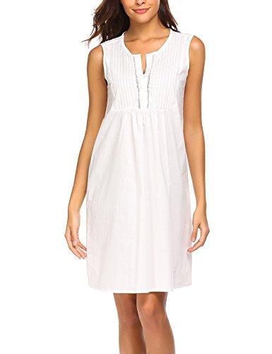 Ekouaer Womens Cotton Nightgown Sleeveless Victorian Chemise Sleepwear (White, XXL)]()
