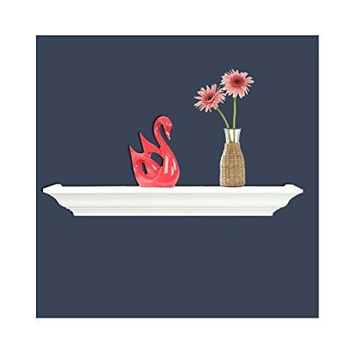 Crown Molding Wall Shelves, WUDENHOM Modern White Fireplace Mantel Floating Shelf(9.8Inch,1 Set) (Crown Place)