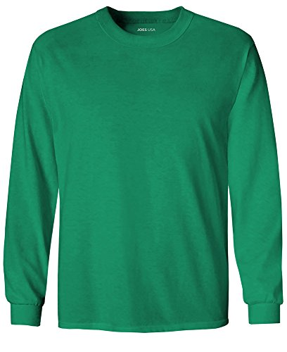 Girls Kellys Kids Shirt - Joe's USA Youth Long Sleeve Cotton T-Shirt-Kelly-M