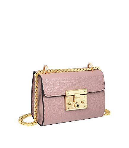 Crossbody Lock Emily Closure Mellow Bag Body Hb17247 Chain Clutch Mauve Push World Bag Strap Leather Cross Vegan YqPR5