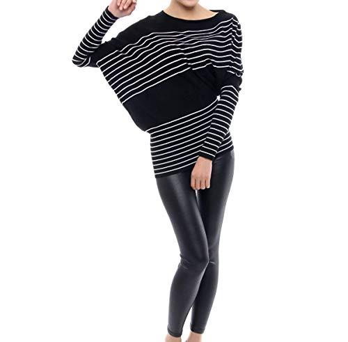 Battercake Fashion Casual Lunghe Eleganti Casuale Comodo Bluse Shirts A Camicia Donna Stripe Top Schwarz Relaxed Rotondo Collo Maniche Donne Primaverile Magliette Autunno Tops wFnfEqwUr
