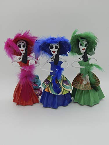 (COLOR Y TRADICIÓN Set of 3 Mexican Catrina Doll Paper Mache Figures Day of The Dead Handmade Art Skull #1521 )