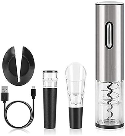 CHENSHJI Sacacorchos automático Set de Regalo de Vino Conjunto de Botellas de Vino eléctrico Aperador de Vino Aeroador eléctrico Vacuum al vacío. (Color : Silver, Size : 19.8x4.5cm)