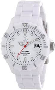 ToyWatch Fluo Time Only Watch FL01WH All White Unisex Plasteramic Plastic Ceramic Date Display Rotating Bezel