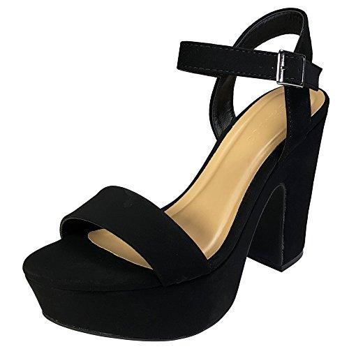Bamboo Women's One Band Chunky Heel Platform Sandal With Quarter Strap, Black Nubuck PU, 10.0 B (M) - Casual Platform Shoe Heel Chunky