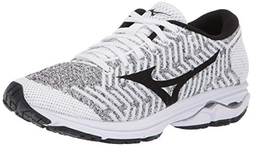 Mizuno Women's Wave Rider 22 Knit Running Shoe, White/Black, 9.5 B US
