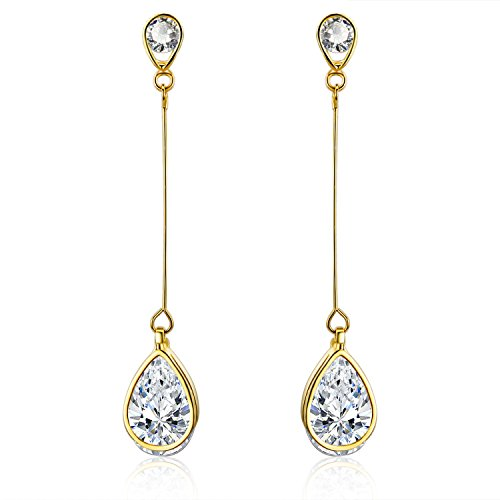 SBLING 18K Gold Plated Cubic Zirconia Teardrop Earrings (3.9 cttw; Teardrop)