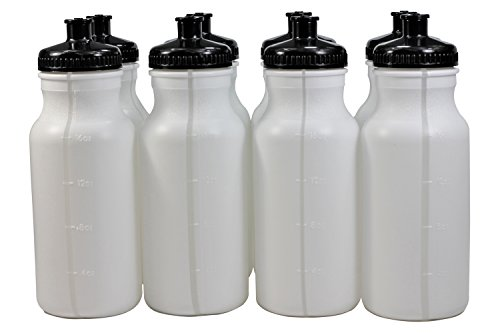 - Pinnacle Mercantile Sports Squeeze Plastic Water Bottles Push/Pull Cap 20 Ounce Bpa-Free Set 8 Black Cap