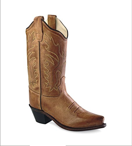 Old West Tan Canyon Childrens Girls Leather 8in Snip Toe ...
