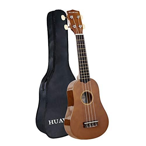 HUAWIND Soprano Ukulele For Beginners Four String Ukulele Start Pack (new -brown)