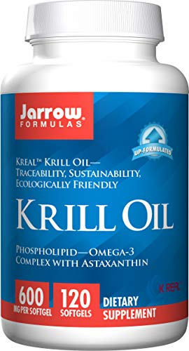 Jarrow Formulas Krill Oil with Phospholipid-Omega-3 Astaxanthin, Supports Healthy Brain Function Metabolic Health, 600 mg per Softgel, 120 Count