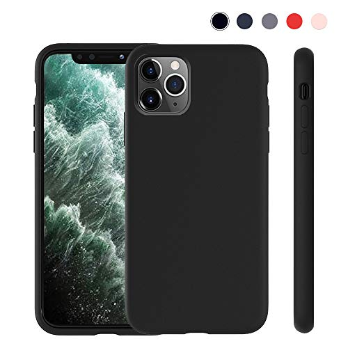 Lintelek iPhone 11 Pro Max Silicone Case, Soft Liquid Silicone Gel Rubber Bumper Phone Case Protective Shockproof Full-Body Case Cover for Apple 2019 New iPhone 11 Pro Max 6.5 (Black)