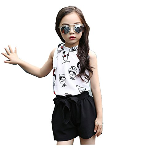 FTSUCQ Girls Patterned Tank Top Shirt with Shorts Two-pieces Sets,White 150 (Cute 11 Year Old Guys)