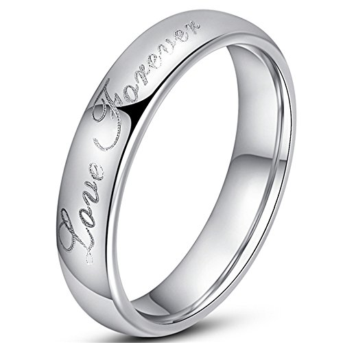 Womens 4mm Vintage Tungsten Carbide White Ring Engraved Love Forever Silver Dome Band For Her Size (Palladium Celtic Ring)