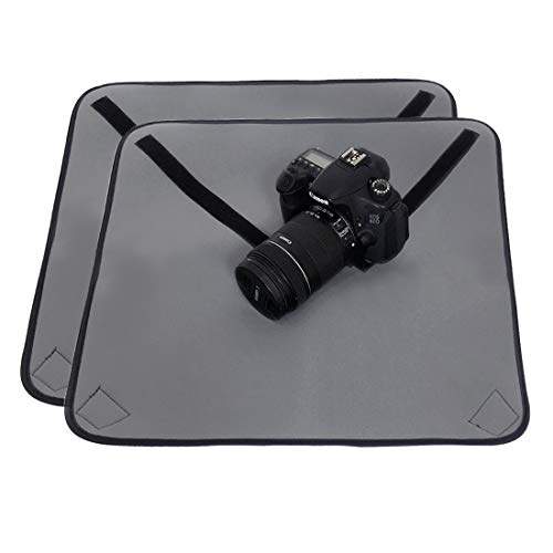 kilofly (Pack of 2) Neoprene Velcro Adjustable Protective DSLR Camera Wrap Around Pouch Cover Cloth, 20 Inch Large Square