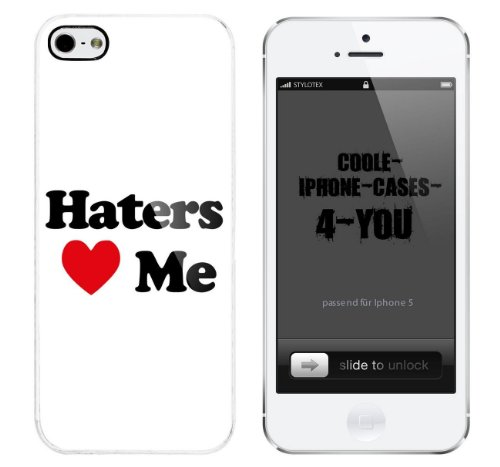 Iphone 5 / 5S Schutzhülle Haters Love Me - weisser Rahmen