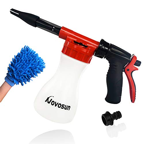 Car Wash Foam Gun, Adjustable Hose Wash Sprayer with Adjustment Ratio Dial Foam Blaster Fit - Foam Cannon Attaches to Any Garden Hose (with Wash Kit)