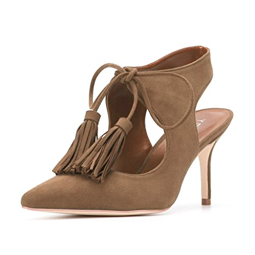 Lace Up Slingbacks (YDN Women Sexy Pointed Toe Low Heel Pumps Slingback Lace-up Stilettos Dress Shoes With Tassels Brown 10)