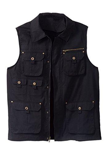 Boulder Creek Men's Big & Tall Multi-Pocket Vest, Black Big-5Xl - Multi Zipper Vest
