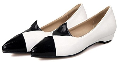 Sellwend Women's Sexy Color Block Pointed Toe Low Heel Work Shoes Slip on Low Cut Pumps White8.5 B(M) US Active demand
