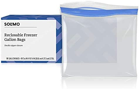 90 Count Resealable Top Bag Holds 1 Gallon Solimo Freezer Gallon Bags