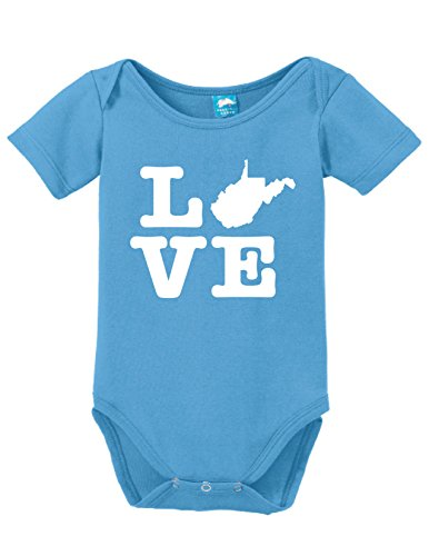 West Virginia Love Printed Infant Bodysuit Baby Romper Light Blue 3-6 Month (Virginia Light 6)