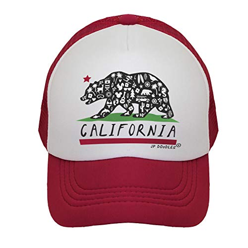- California Bear Flag on Kids Trucker Hat. Kids Baseball Cap is Available in Baby, Toddler, Youth, and Adult Sizes (RED, ITTY Bitty 4-12 MOS)