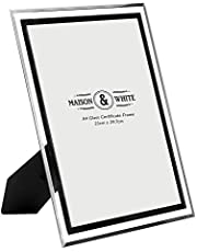 A4 Photo Certificate Frame | Glass Picture Frame | Mirrored Silver Graduation Frame | Free Standing or Wall Mounted Document Holder | M&W