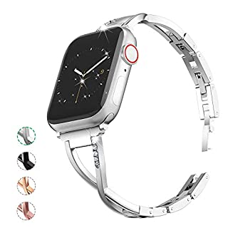 MARGE PLUS Compatible with Apple Watch Band 38mm 40mm 42mm 44mm, Women Bling Wristband for iWatch Series 5 4 3 2 1 Metal Stylish Strap