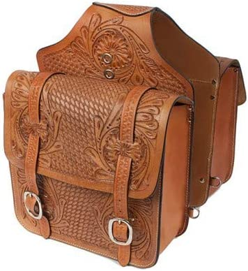 Cow Hide Genuine Leather Western Trail Tooling Carving Horse Saddle Bag