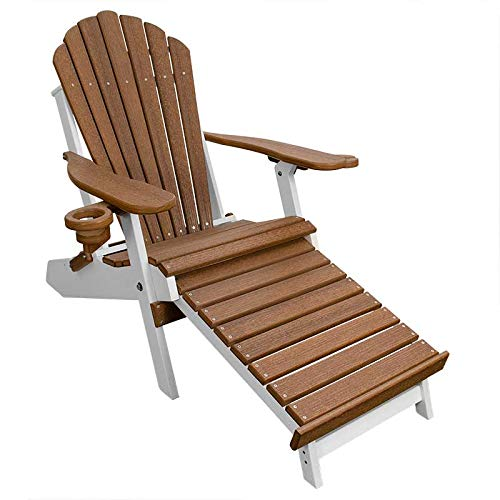 ECCB Outdoor Outer Banks Deluxe Oversized Poly Lumber Folding Adirondack Chair with Integrated Footrest (Antique Mahogany/White)