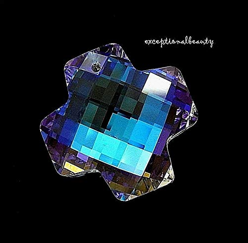 - Crystal Clear Aurora Borealis Checkerboard Faceted 30mm Swiss Cross Pendant