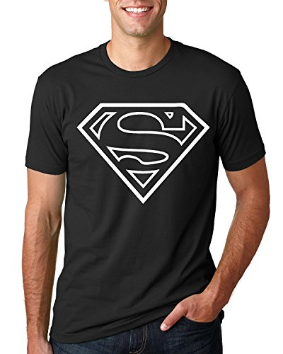Glow in The Darkness Superman Short Sleeve Black T-Shirt (Green Glow, Large)